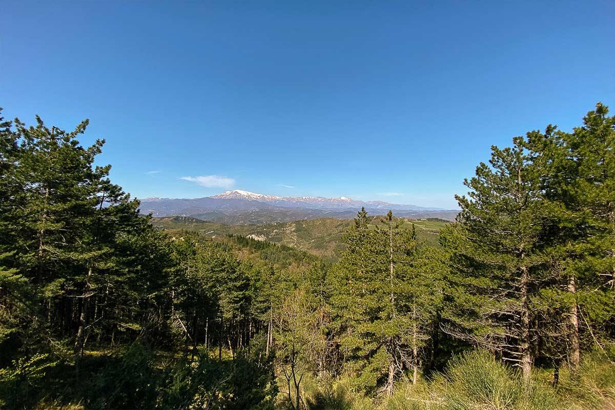 Panorama dai percorsi sui monti nei dintorni di Ascoli Piceno